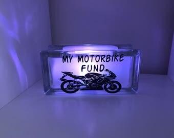 New Motorbike Fund savings box, light up money box, savings box, savings bank
