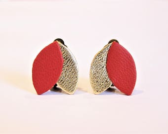 Leather red and gold clip earrings