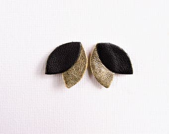 Black and gold leather earrings