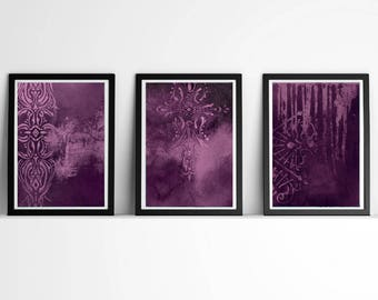 sets of 3, modern decor,Triptychs, purple prints, violet abstract, ornament art , vintage print, art print, poster, art gifts, rustic decor
