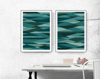 graphic design art, abstract wall art, teal art, scandinavian art, abstract triangle, abstract set of 2, Nordic wall art, green blue mint