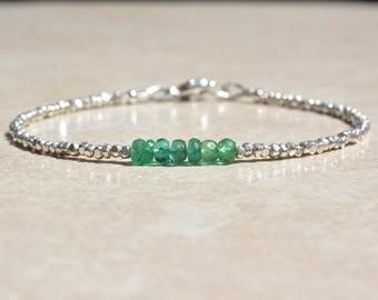 May Birthstone Birthstone, Zambian Emerald Bracelet, Natural Emerald Gemstone Bracelet, Stacking Beaded Bracelet, Birthday Gift for Her