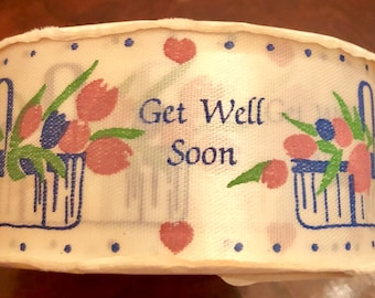 Get Well Soon Floral Satin Ribbon
