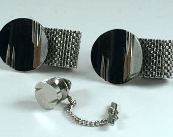 Vintage Cuff Links Tie Tack Set Polished Silver Tone Mesh Mid-Century Modern
