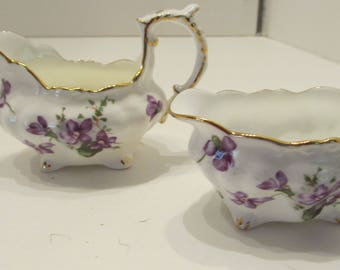 VINTAGE Miniature Sugar and Cream Set - Victorian Violets Pattern by Hammersley - Made in England