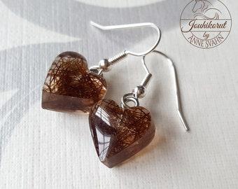 Heart horse hair earrings