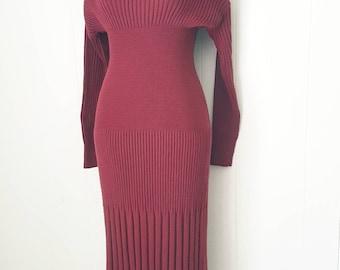 90s Carole Little Burgundy Textured Knit Sweater Dress