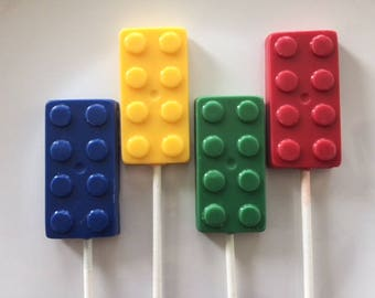 BUILDING BLOCKS Lollipop(12 qty)  LEGO Themed Birthday/Childrens's Birthday Party/Blocks Party Favors/Building Blocks/Construction Blocks