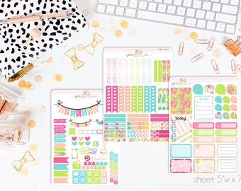 Citrus Splash VERTICAL Weekly Kit // 140+ Matte Planner Stickers // Perfect for your Erin Condren Life Planner // WKV0760