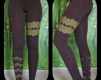 36, hand-painted leggings Brown with green print
