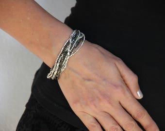 Silver Wrap Bracelet - Casual Silver Beaded Bracelet - Beaded Summer Bracelet - Gypsy Bracelet - Boho Jewelry Ideas