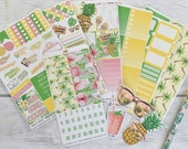 Tropical Summer Weekly Vertical Planner Stickers Kit | Made to fit Erin Condren Life Planners or other Vertical Planners 32L