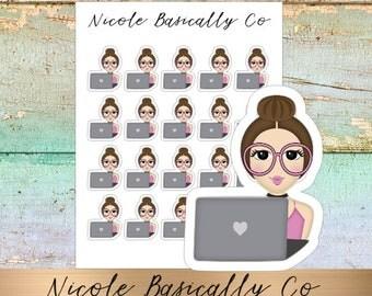 Jade Dolls- Working- Laptop- Character Planner Stickers