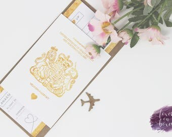 Gold Foiled Effect Passport & Boarding Pass Style Invitation | Choose Any Colour! | Sample Only | Wedding Invite Bundle | Design Code #4009