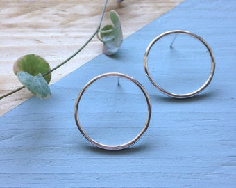 Circle stud earrings   Large circle studs in recycled silver   Eco friendly jewellery   Recycled packaging   Ethical gift.