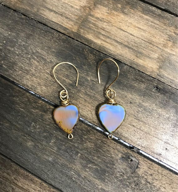 Violet and green czech glass heart earrings with brass wire