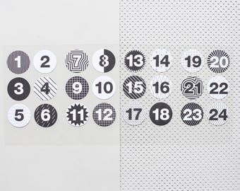 24 advent calendar stickers, christmas calendar labels, DIY advent calendar