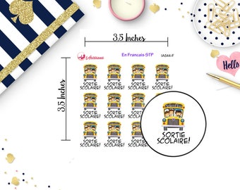 French Stickers - Autocollants Scolaire - Stickers d'Ecole - Sortie Scolaire - Autobus Scolaire - Autocollants on Francais