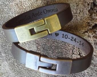 FREE SHIPPING-Hidden Message Bracelet, Leather Men Bracelet ,Personalized Leather Bracelet, Unisex Message Bracelet,Custom Men Cuff Bracelet