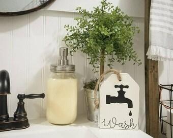Rustic WoodenTag. Wash tag. Wood tag. Bathroom decor. Wash sign  Rustic.Farmhouse.Farmhouse Bathroom.