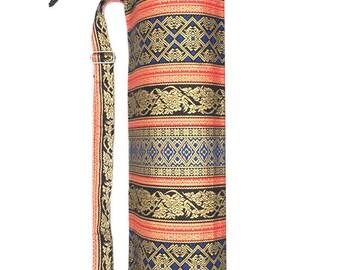 Handmade Thai Gold Print Fabric Yoga And Pilates Mat bag Carrier