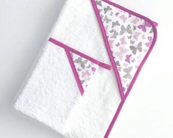 Ensemble cape de bain et gant de toilette pour bébé T.0-6 mois rose et taupe motifs papillons