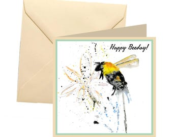 Bee birthday card, Happy Beeday, greetings card, birthday card, bee card, funny birthday card