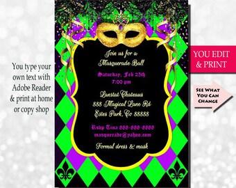 Mardi Gras Invitation, Mardi Gras Party Invitation, Masquerade Invitation, Masquerade Party Invitation, Gold Glitter Mask, EDIT YOURSELF