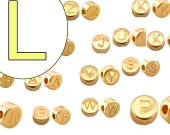 alphabet bead L 7mm gold plated #3850