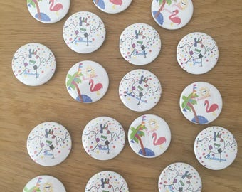 Pink Flamingo child's drawing and football loving badges magnets