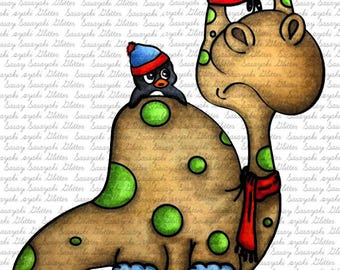 Image #67 - Winter Dino and Penguin by Sasayaki Glitter Digital Stamps - Naz Smith - Lineart only- Black and White