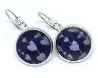 Delicate earrings NAVY-light blue heart