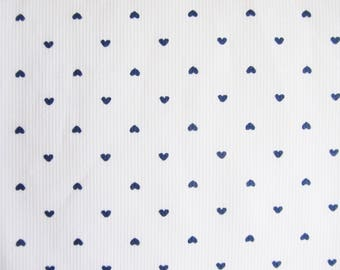 Kids fabric coupon / hearts in white cotton 57 x 30 cm - fabric printed - white fabric.