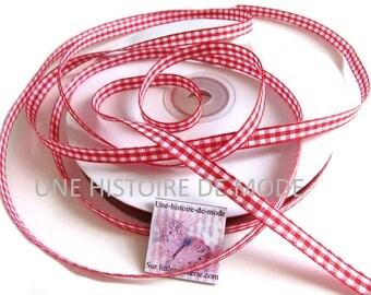 3 meters of 6 mm - Christmas - Christmas Ribbon - Red Ribbon cord red gingham Ribbon