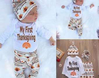 My first Thanksgiving, Thanksgiving Outfit, Baby's First Thanksgiving, Turkey Day Outfit, Baby Outfit, First Thanksgiving, Baby's First