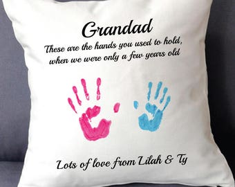 Personalised handprint cushion cover