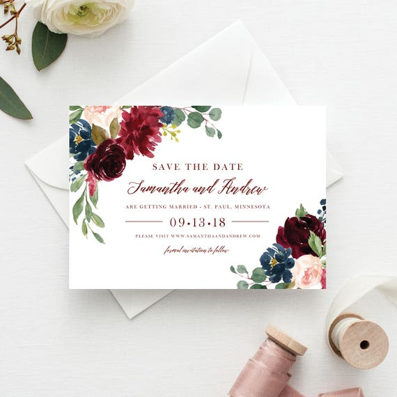Save the Date Template Save the Date Cards Marsala Save the Dates ...