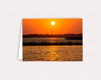 Bogue Sound Sunset Emerald Isle NC Note Cards 5x7 Blank Greeting Card Landscape Photography Photo Card with envelope