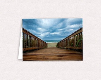 Emerald Isle Beach Walkway Photo Note Cards 5x7 Greeting Card Blank North Carolina Beach SOBX NC Stationary with envelopes