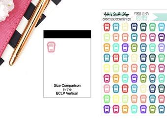 Multicolored or Black Mini Coffee Icon Planner Stickers