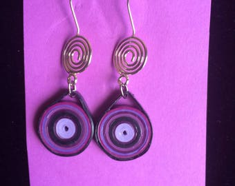Paper quilling, lightweight jewelry, purple shades, comfortable summer earrings, boho jewelry, recycled paper, wearable art