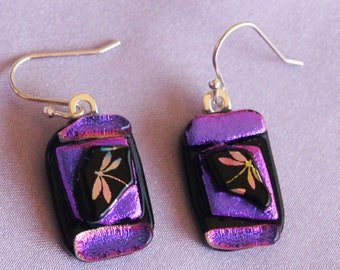 Funky Dragonfly Earrings/Valentines Day/ Valentines gift/ Girlfriend gift/Funky Earrings/Purple Earrings/Fused Glass earrings