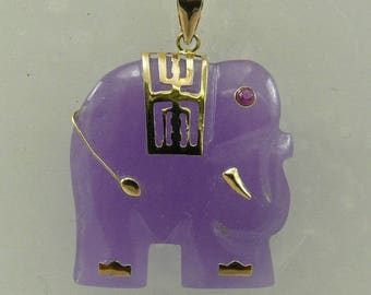 Lavender Jade 22.6 mm x 22.4 mm Elephant Pendant with Ruby Eye 14k Yellow Gold