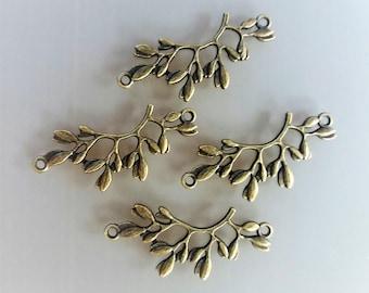 4 connectors 3.8 cm branch with leaves bronze color metal