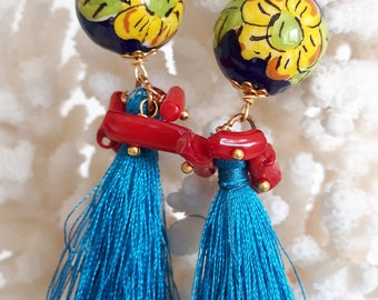 Silver earrings with red coral beads Caltagirone ceramics and