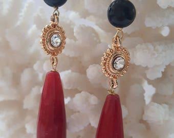 Silver earrings with gemstone drop red jade