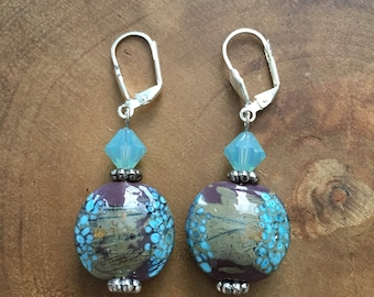 Lampwork Earrings, Fall Earrings, Glass Bead Earrings, Purple Earrings, Light Blue Earrings, Lampwork Jewelry
