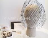 Black Swarovski Crystal Custom Birdcage Veil - Darleta