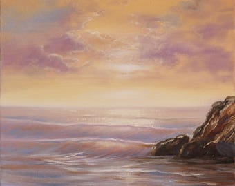 Original Ocean Oil Painting, Coastal Landscape, Sunset Painting, Water Painting, Realism, Ocean Waves, Seascape, Ocean Scene, Fine Art