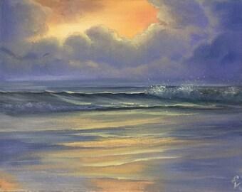 Beach Painting, Sunset Art, Ocean Waves, Coastal Landscape, Original Ocean Painting, Seascape, Ocean Art, Florida coast, Look Beyond